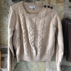 St. John's Bay oatmeal braided knit sweater Item: St. John's Bay oatmeal braided knit sweater  Brand: St. John's Bay Tag size: large  ~measurements are estimations taken in inches on a flat surface- please double bust for accurate measurement. St. John's Bay Sweaters Crew & Scoop Necks