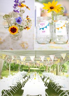 I like the idea of writing on the jars for the bride and groom. You could even write out the whole wedding party.