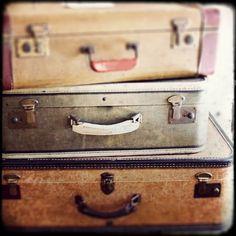 "OFF Vintage Travel Photo - ""Take the Long Way Home"" - Antique Suitcases Sepia Film Photograph - Vintage Luggage, via Etsy. Vintage Suitcases, Vintage Luggage, Vintage Travel Posters, Vintage Trunks, Vintage Design, Vintage Love, Vintage Decor, Smash Book, Japanese Travel"