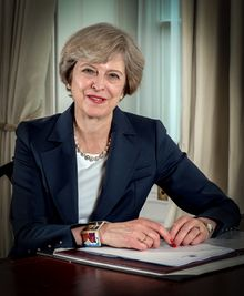 Theresa May.pngTheresa Mary May (née Brasier;[1] born 1 October 1956) is the Prime Minister of the United Kingdom and Leader of the Conservative Party, having served as both since July 2016.