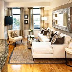 #Livingroom #SmallSpaces #Windows #Sofa #Carpet #Chair #White #Beige #Brown #Mirror #Tv #Cozy