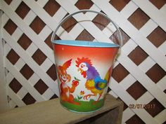 Vintage Ohio Arts Lithograph Metal Pail -  Easter Pail - Bunny Rabbit Chickens & Ducks - Nice Bright Colors by EvenTheKitchenSinkOH on Etsy