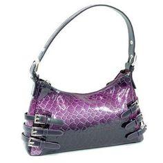 HPW Faux Snake Skin Embossed Purse Faux Leather Purple for Women ...