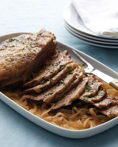 Slow-Cooker Brisket and Onions Recipe. Tip: Ask your butcher to trim the layer of fat on the brisket down to 1/4 inch, which is enough to keep the meat moist and tender as it cooks.