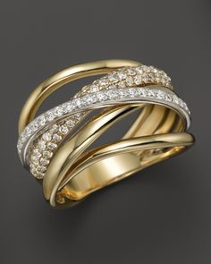 Diamond Pavé Crossover Band in 14K White and Yellow Gold, .90 ct. t.w.   Bloomingdale's