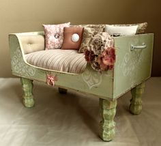 A Vintage infused Luxury dog bed for the pup! Change the color to cream, and the upholstery to a soft pink.