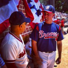 Ozzie Smith, Hall of Famer, and Will Cunnane, former Atlanta Braves pitcher, chat prior to the start of the 2012 Hall of Fame Classic game in Cooperstown, N.Y.