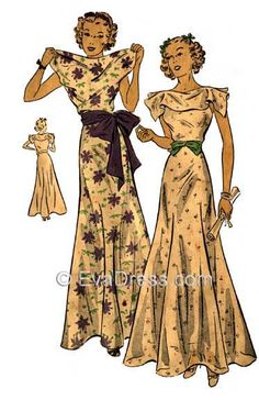 E30-1655; 1936 Graduation or Evening Frock 6-piece hand-drafted pattern originally from DuBarry, the collar of this frock is in one with each front and back bodice piece to create a flattering drape a