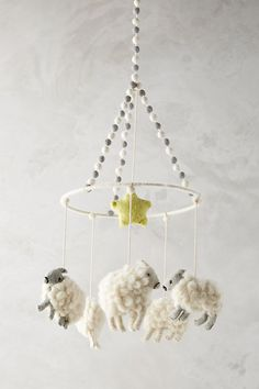 Felted Orbit Mobile by Anthropologie in White, Kids