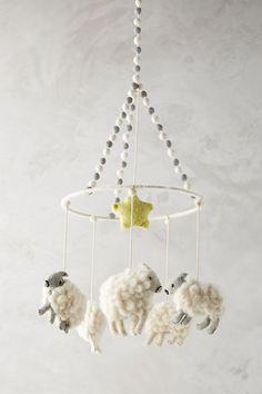 Felted Orbit Mobile by Anthropologie in White, Kids Baby Crib Mobile, Baby Cribs, Baby Mobiles, Mobile Kids, Nursery Mobiles, Unicorn Mobile, Modern Crib, Felt Mobile, Sheep Mobile