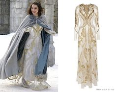 What: Temperley London Long Aya Show Dress in White/GoldWhere: Reign S01E19 'Toy Soldiers'
