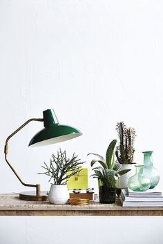 Table lamp by House Doctor. House Doctor, Zinc Table, Brass Table Lamps, Room Lamp, Desk Lamp, Swing Arm Wall Light, Lampe Decoration, Turbulence Deco, Green Table