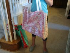 Oil Cloth oversized Library Tote bag - sewn by my very creative student!