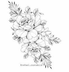 Flower Hip Tattoos, Flower Tattoo Designs, Mini Tattoos, Body Art Tattoos, Mandala Thigh Tattoo, Mandala Tattoo Design, Flor Oriental Tattoo, Rose Outline Tattoo, Back Of Shoulder Tattoo