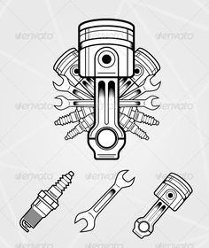 Engine parts auto, candle, car, engine, old, parts, piston engine, plug, poston, spanner, spark-plug, Engine parts