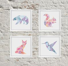 All Four Geometric Animal Prints Bear Fox Squirrel by PeachorPlum