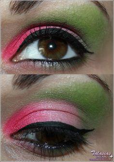 Green Pink Eye Make Up - Datum: 15.04.2012  http://talasia.blogspot.de/2012/04/magis-blog-parade-look-outlook-fruhling.html