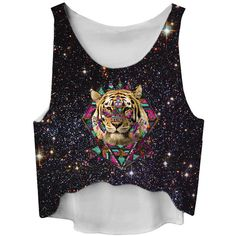 Black High Low Galaxy and Tiger Printed Fashion Ladies Crop Top ($6.84) ❤ liked on Polyvore featuring tops, tiger top, tiger print top, galaxy print top, galaxy top und black top