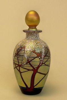 Gold Cherry Blossom Perfume Bottle: Carl Radke: Art Glass Perfume Bottle - Artful Home