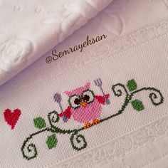 This Pin was discovered by Zey Cross Stitch Owl, Cross Stitch Kitchen, Cross Stitch Bookmarks, Cross Stitching, Cross Stitch Patterns, Baby Embroidery, Embroidery Stitches, Happy Evening, Baby Bike