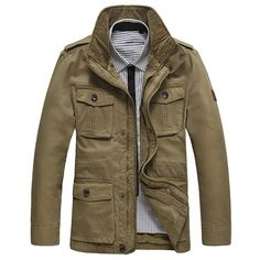 Sale 28% (99.99$) - AFSJEEP Mens Outdoor Cotton Stand Collar Jacket Big Size S-6XL Business Cacual Solid Color Coat