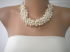 Handmade Weddings Pearl Necklace by HMbySemraAscioglu on Etsy