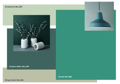Farrow & Ball Moodboard- Joa Studholme: Vardo (Wall), Inchyra Blue (Trim), Cromarty (Ceiling), Drop Cloth (Floor)