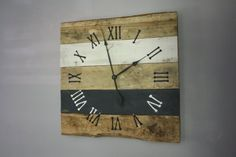 Large Reclaimed Wood Clock.  Eco-Friendly.  Rustic.  Beach house.  Pallet Wood Wall Clock. Home Decor.  Custom Color.  Black and White.