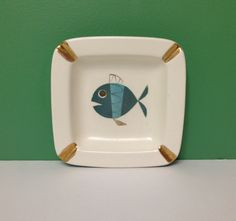 Vintage Atomic Fish Ashtray Metlox Tropicana Mid Century Modern Decorative Dish by MidCenturyMary on Etsy https://www.etsy.com/listing/253223341/vintage-atomic-fish-ashtray-metlox
