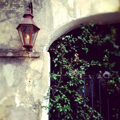 A postcard from #Charleston: a flickering copper carriage lantern that stands watch over a secret garden