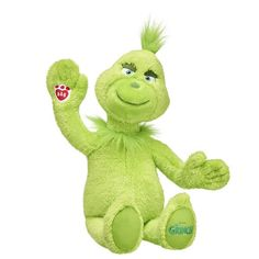 e1b097021d5 Build A Bear the grinch holiday stuffed toy sitting and waiving Grinch Toys