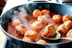 Turkey Meatballs in Tomato Sauce with Burrata Cheese