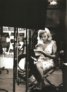 "Marilyn Monroe reading her script on the set of ""The Misfits"", 1960."