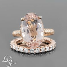 Peach Morganite Engagement Ring Oval by LaurieSarahDesigns on Etsy