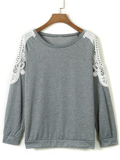 Gray Cold Shoulder Crochet Lace Sleeve T-shirt