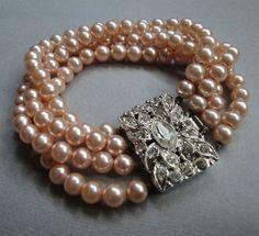 Vintage Pearl Bracelet with large Rhinestone by EyeCandyAntiques, $59.00