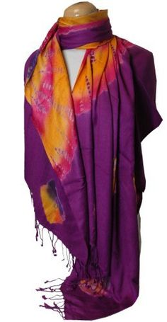 Magenta Tie Dye Pashmina Shawl/Wrap Peach Couture. $14.95. Save 63% Off!