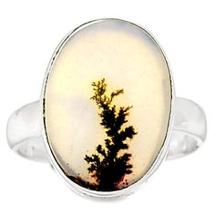 Scenic Dendritic Agate 925 Sterling Silver Ring Jewelry s.9