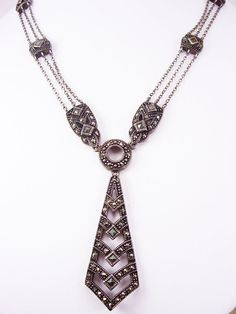 Vintage sterling art deco necklace marcasites by vintagesparkles, $195.00