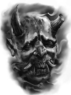 Tattoo uploaded by George Brook Skull Rose Tattoos, Evil Tattoos, Body Art Tattoos, Japan Tattoo Design, Skull Tattoo Design, Tattoo Designs, Hanya Mask Tattoo, Hannya Tattoo, Smoke Tattoo
