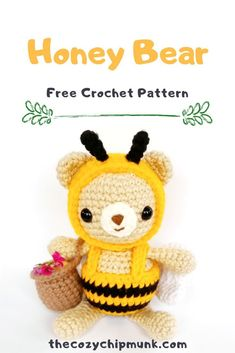 Designed by Free bear pattern! Amigurumi honey bear with wings, antennae and a honey pot. Crochet Bee, Kawaii Crochet, Crochet Amigurumi Free Patterns, Crochet Crafts, Crochet Dolls, Crochet Projects, Free Crochet, Yarn Projects, Baby Toys