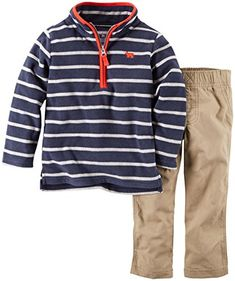 64bc57c5ac25 Carters Baby Boys 2 Piece Striped Set Navy 6 Months     Click image for  more details.