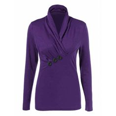 Shawl Collar Button Decorated T-Shirt, PURPLE, XL in Long Sleeves | DressLily.com