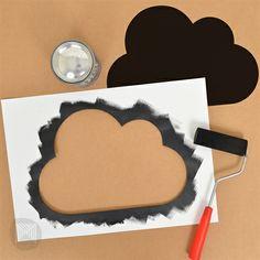 Use Micador 'Paint It Black' Blackboard Paint to create changeable decorations! Endless possibilities for shapes #kidsart #blackboardpaint #chalkboard