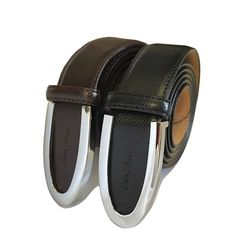 Men's Genuine Cowhide Brown & Black Leather Gold Paco Belt Smooth/Pin Buckle #GoldPacoLeather #Dressy
