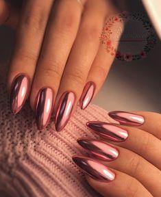 Acrylic Nail Art, Acrylic Nail Designs, Long Nails, My Nails, Dip Manicure, Chic Nails, Metallic Nails, Makeup Rooms, Elegant Nails