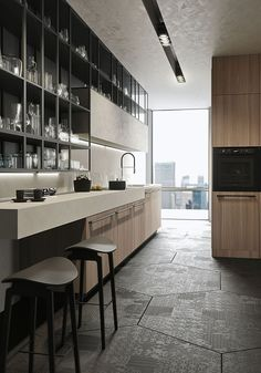 Modular open wall units add to the storage space in the kitchen