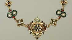 Parure with necklace, brooch and earrings made from enamelled gold, pearls, rubies and emeralds, late 16th century with later additions Credit: Royal Collection Trust / (C) Her Majesty Queen Elizabeth II 2013.