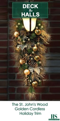This is the golden cordless prelit holiday trim that can be hung anywhere indoors or outdoors without requiring unsightly extension cords or proximity to an outlet. Christmas Swags, Christmas Makes, Outdoor Christmas Decorations, All Things Christmas, Christmas Holidays, Christmas Garden, Christmas Items, Merry Christmas, Extension Cords