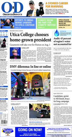 The front page for Tuesday, Feb. 9, 2016: Utica College chooses home-grown president